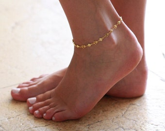 Gold Anklet - Gold Ankle Bracelet - Foot Jewelry - Foot Bracelet - Anklets For Women - Summer Jewelry - Beach Jewelry - Delicate Anklet