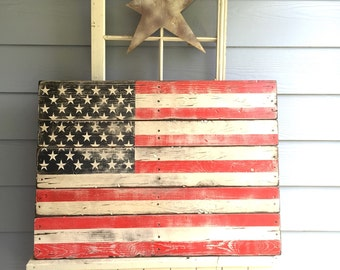 Flag - Wooden Sign - American Flag - Pallet wood - Rustic - USA - Red White Blue - Old Glory - Patriotic - 4th of July