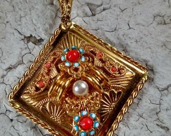 Vintage W German gold filigree tiny hand mirror
