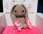 "Crochet amigurumi bunny / stuffed animal # Flower Ears # Large bunny 12.6"" # Perfect gift for Newborn baby Girls * Baby shower gift *nursery"