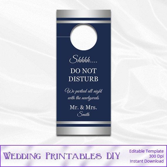 items similar to wedding door hanger template diy navy and silver foil doorhangers printable. Black Bedroom Furniture Sets. Home Design Ideas