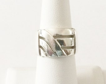 Size 7 Sterling Silver Wide Band Filigree Ring