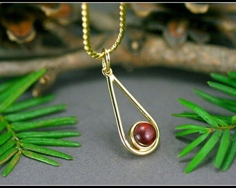 Red jewelry, Red pendant, Red pendant necklace, Red necklace unique, Necklace red wood, Gold teardrop pendant with red wood, Necklace wood