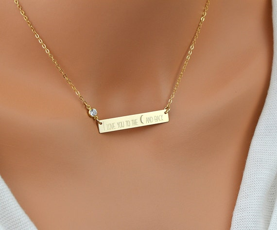 Bar Necklace Personalized Name Necklace Engraved Bar