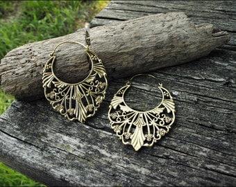 Bronze earrings. Tribal earrings ethnic style.