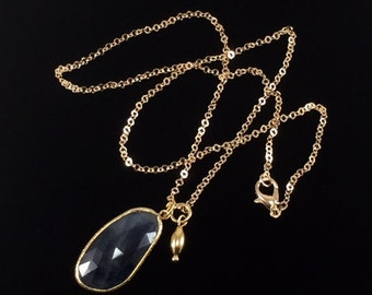 Sapphire Pendant Necklace/ blue/ Sapphire/ faceted/ gemstone/ pendant/ necklace/ Haute Couture/ Jewelry