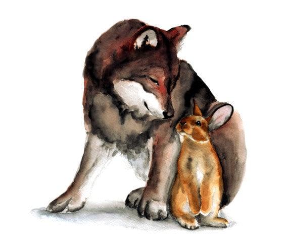 Watercolor Wolf And Bunny Art Print Woodland Nursery