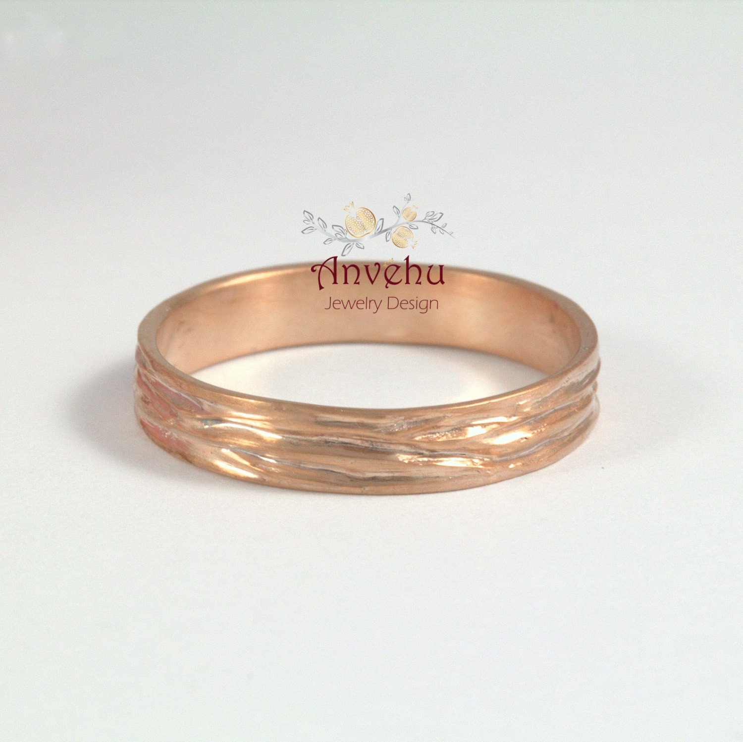 rose gold mens wedding band male wedding band thin band by