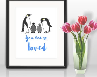 Two Little Baby Penguins Blue 'You are so loved' - Printable Art Nursery Art for 8x10 print - INSTANT DIGITAL DOWNLOAD - can be Personalized