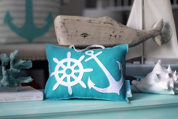 Personalized Baby Pillow, Personalized Nursery Pillow, Nautical Baby Pillow, Coastal Pillow, Anchor Pillow, Keepsake Pillow, Coastal Decor