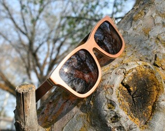 Recycled Skateboard Brown Lens Wayfarer polarized wood sunglasses. Hand Made. Wedding Sunglasses.