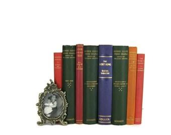 Green blue orange Decorative Books , Vintage Photo Props , Table Setting , Wedding Decor , Bookshelf Decor , Home Decor , Old Book