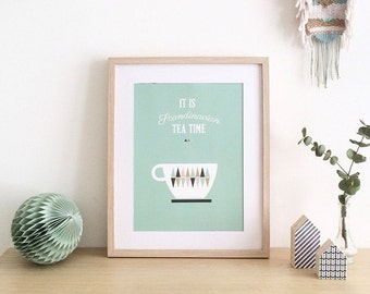 "Graphic design poster -  ""It is scandinavian tea time"" - scandinavian inspiration,tea and scandinavian illustration"