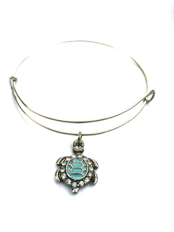 turtle charm bracelet aqua and silver bejeweled turtle
