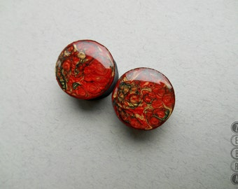 """Red painted ear plugs wooden tunnels 4,6,8,10,12,14,16,18,20,22,24,26,28,30 -60mm;6g,4g,2g,0g,00g;1/4,5/16,3/8,1/2,9/16,5/8,3/4,7/8,1 1/4,1"""""""