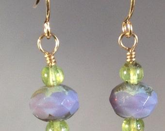 Peridot & Purple Earrings