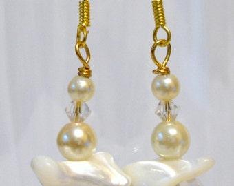 Mother of Pearl Crystal Drop Earrings, Pearl drop earrings