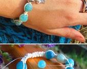 Healing bracelet Natural Agate gemstone Blue beads Energy Bracelet Shambala Handmade Yoga bracelets Dragon vein agate Gift Gemstone jewelry