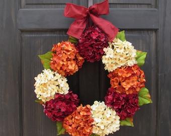 Fall Wreath for Front Door, Wreath for Summer, Hydrangea Wreath, Summer Wreath, Thanksgiving Wreath, Fall Front Door Wreath, Fall Decor