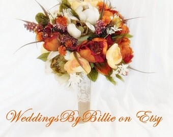 Fall Flowers-Fall Bouquet-Fall Wedding-Fall Bridal-Wildflower Bouquet-Burlap and Lace-Rustic Wedding-Outdoor Wedding-Fall Orange Bouquet