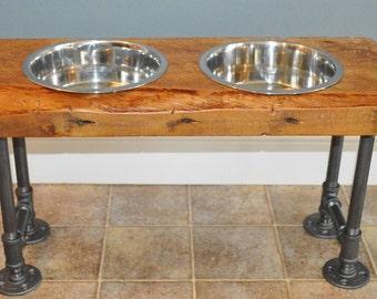 Reclaimed Barn Wood Large Raised Dog Feeder