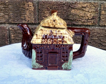 """Vintage Teapot, """"Home Sweet Home"""" Cottage Ware, English Cottage, Small Teapot, Collectible"""