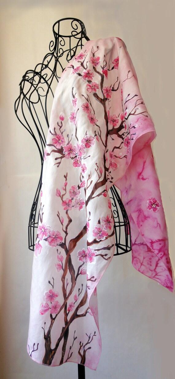 Hand painted silk scarf Sakura flower