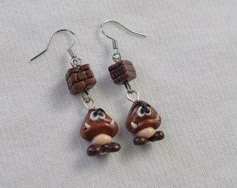 Goomba Earrings with block