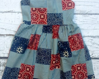 4th of July Dress Girls, Toddler Dress, Red White and Blue Toddler Dress, Girls Patchwork Dress by Ava and Bash