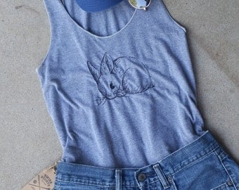 Bunny Embroidered Tank // American Apparel // Athletic Grey // Racerback  // summer
