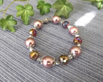 Mauve Pearl Bracelet with Multi-Color Gemstone Beads