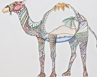 Zentangle Camel colored camel ink colored pencil  desert camel standing camel original drawing zentanle ink