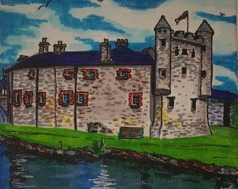 Original marker drawings of buildings and landmarks on canvas - can create custom pieces of any building