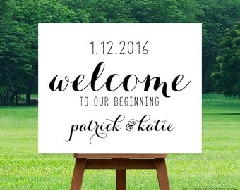 PRINTABLE Wedding Welcome Sign | Personalized Calligraphy Large Wedding Sign | Custom Wedding Reception Sign | DIGITAL