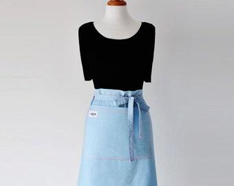 Hostess Apron - Women's Apron - Half Apron - Blue Apron - Front Pockets