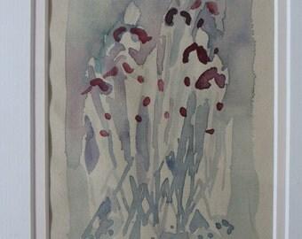 Iris, signed original painting.