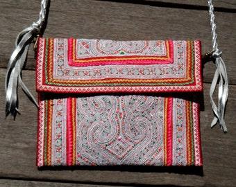 Hmong vintage embroidery Shoulder X body Bag/Clutch/ Ethnic Crossbody bag