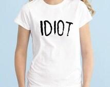 IDIOT Tshirt, 5SOS Band Tshirt, Michael Clifford 5 Seconds of Summer T-Shirt, Fangirl Shirt, Black Grey White Adult Tshirt