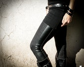 ZEON - Like Denim Leggings Dystopian Fashion Black with faux leather strip Wasteland Apocalyptic Punk Edgy Goth