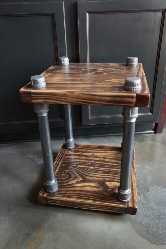 Rustic industrial end table wood and pipe by jblockdesigns for Rustic pipe table
