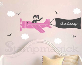 Airplane Wall Decal with Name Banner & Girl Pilot - Plane Vinyl Decal Decor Sticker Graphics for Nursery - K248