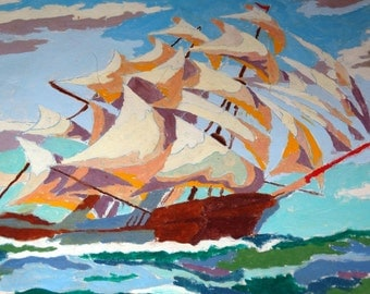 Nautical 1953 Paint by Number, Clipper ship on Canvas, Pann Products, Tiffan Ohio, Beautiful Mid-Century Modern Artwork, Nautical Ocean Ship