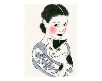 "Cat Wall Art - Cat Artwork - Cat Decor  -  4 for 3 SALE - Severine and Marc 8.3"" X 11.7"" print"