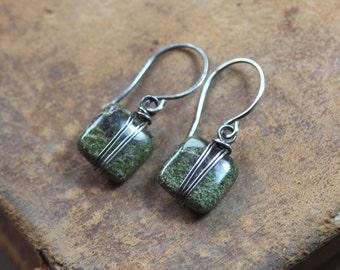 Moss Earrings Dragon Blood Jasper Silver Wire Wrapped Green Gemstone Earrings Sterling Silver Green Earrings Rustic Jewelry