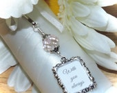 Wedding bouquet photo charm. Pink crystal and small picture frame for a Bridal bouquet. Memorial photo charm. Unique Bridal shower gift.