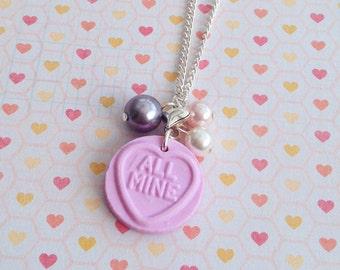 Love Heart Sweetie Necklace Purple