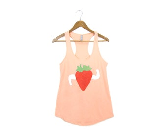 Strawberry Beefcake Tank - Racerback Scoop Neck French Terry Swing Tank Top in Peach and Berry Red - Women's Size S-2XL