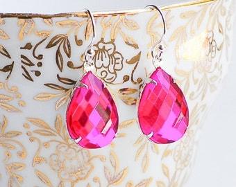 Pink Earrings, Pink Crystal Earrings, Hot Pink Rhinestone Earrings, Bridal Jewelry, Pink Diamonds, Fuschia Earrings, Estate Glamour