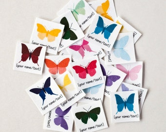 75 Name Tags with Colorful Butterflies - personalized iron on labels for children's clothing (kids' labels)