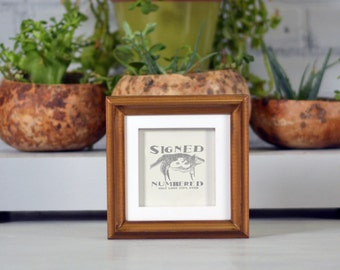 4x4 inch Square Photo / Picture Frame in 1x1 Double Cove Build Up Style with SOLID White and SOLID Roman Gold Finish - 4x4 Frames